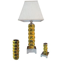 Sundrenched Wood Bangle 1-light Table Lamp, Vase and Candle Holder Set