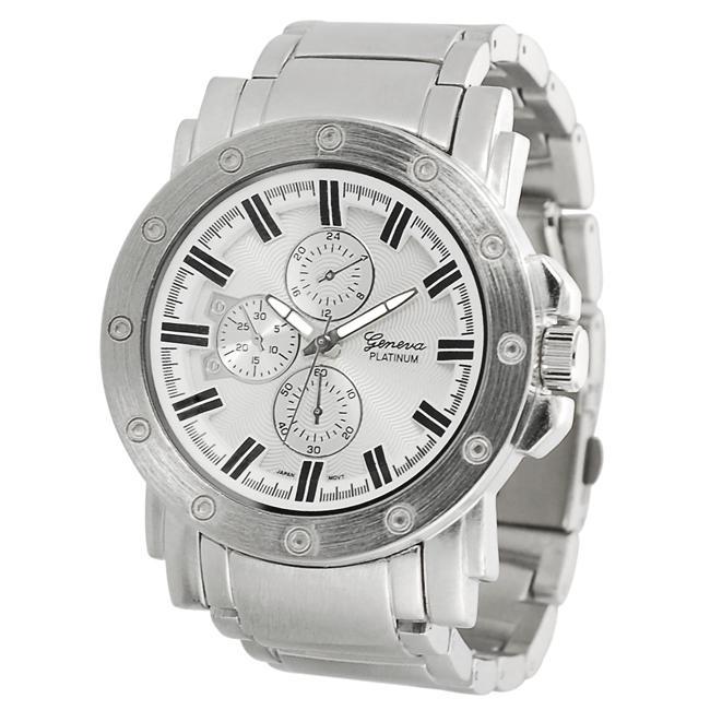 Geneva Platinum Men's Chronograph-style Matte Finish Link Watch