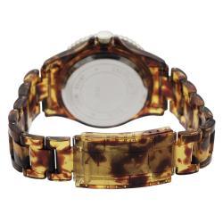 Geneva Platinum Women's Rhinestone-accented Tortoise Link Watch