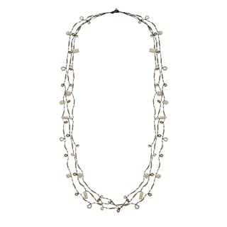 Cotton Rope 3-strand White Reconstructed Turquoise Necklace (Thailand)