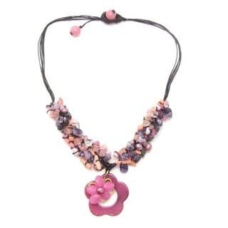 Cotton Cute Flower/ Cluster Gemstone/ Pearl Necklace (6-8 mm) (Thailand)