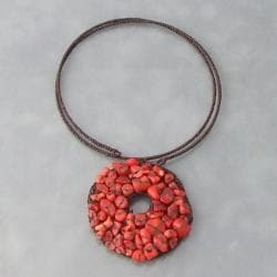 Cotton Rope Organic Mosaic Red Coral Donut Choker (Thailand)