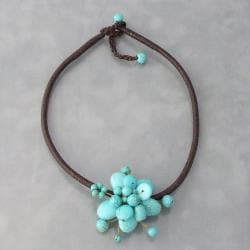 Cotton Rope Blue Reconstructed Turquoise Cute Flower Choker (Thailand)