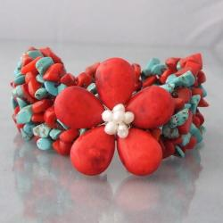 Cotton Rope Turquoise/ Coral/ Pearl Flower Bracelet (4-5 mm) (Thailand)