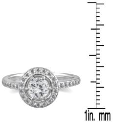14k White Gold 3/4ct TDW Diamond Halo Engagement Ring (I-J, I1-I2)
