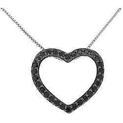 Sterling Silver Black CZ Heart Frame Necklace