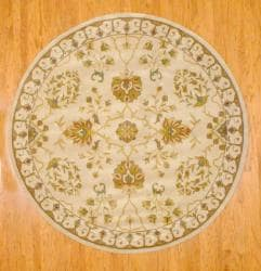 Indo Hand-tufted Ivory/ Gold Floral Wool Rug (8' Round)