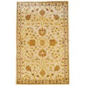 Indo Hand-tufted Ivory/ Gold Floral Wool Rug (5' x 8')