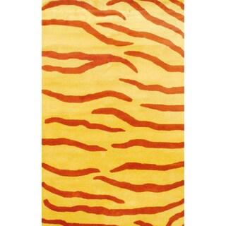 Indo Hand-tufted Rust/ Yellow Zebra Stripe Wool Rug (4' x 6')