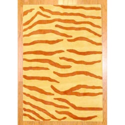 Indo Hand-tufted Rust/ Yellow Zebra Stripe Wool Rug (4' x 6')