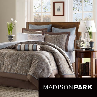 Madison Park Whitman Blue 12-piece Bed in a Bag with Sheet Set