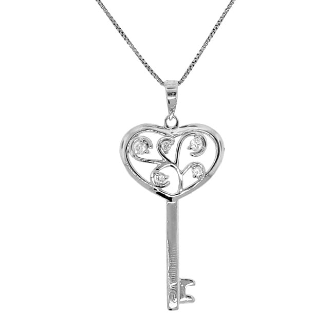 Sterling Silver White Cubic Zirconia Key Necklace