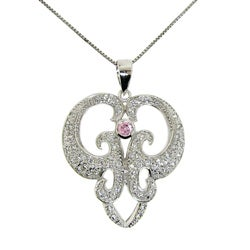 Sterling Silver White and Pink Cubic Zirconia Abstract Necklace