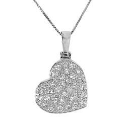Sterling Silver White Cubic Zirconia Diagonal Heart Necklace
