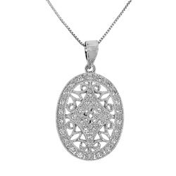 Sterling Silver White Cubic Zirconia Oval Filigree Necklace