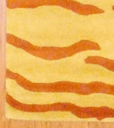 Indo Hand-tufted Rust/ Yellow Zebra Stripe Wool Rug (3'3 x 5'3)