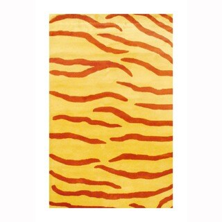 Herat Oriental Indo Hand-tufted Tibetan Rust/ Yellow Zebra Stripe Wool Rug (3'3 x 5'3)