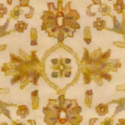 Indo Hand-tufted Ivory/ Gold Floral Wool Rug (2' x 3')