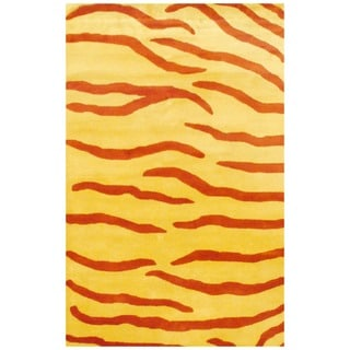 Indo Hand-tufted Rust/ Yellow Zebra Stripe Wool Rug (5' x 8')
