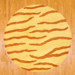 Indo Hand-tufted Rust/ Yellow Zebra Stripe Wool Rug (8' Round)