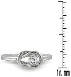 10k White Gold 1/6ct TDW Diamond Solitaire Knot Ring (I-J, I1-I2)