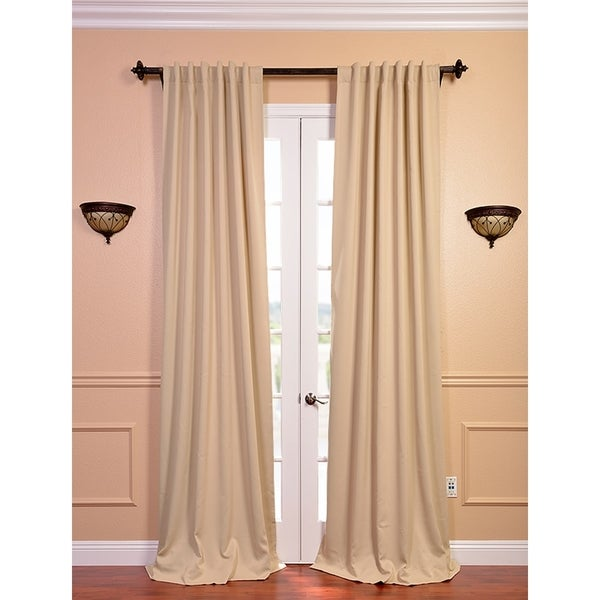 exclusive fabrics biscotti beige 96 inch blackout curtain
