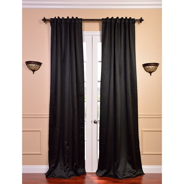 Exclusive Fabrics Textured Dupioni Faux Silk 96-inch Blackout Grommet ...