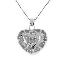 Sterling Silver Clear Cubic Zirconia Heart Cage Necklace