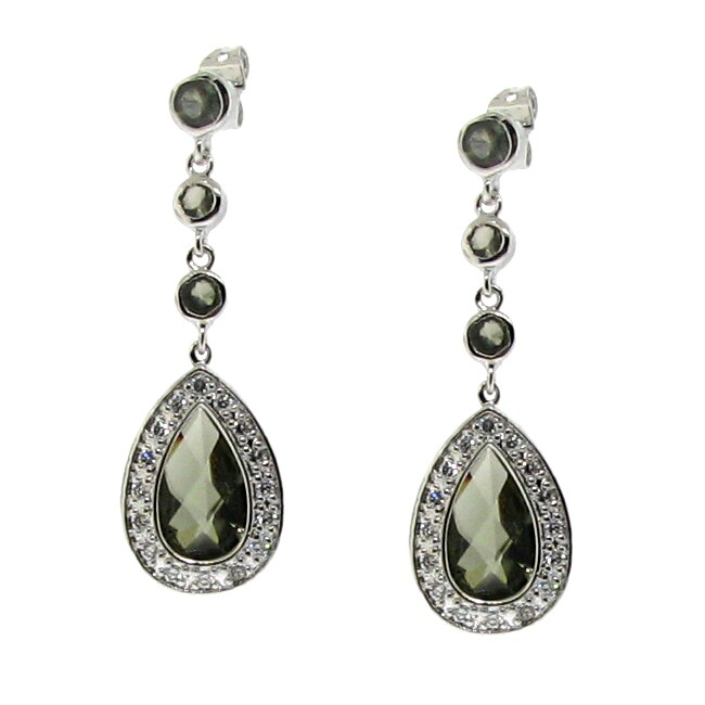 Sterling Silver Green Cubic Zirconia Teardrop Earrings
