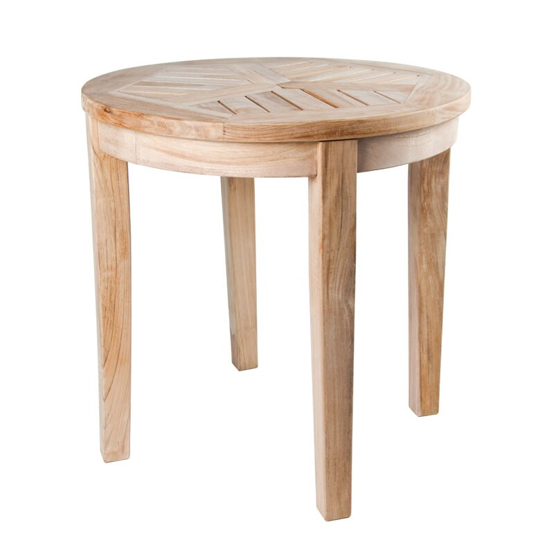 Solid Teak Natural Round Side Table 13654139 Overstock