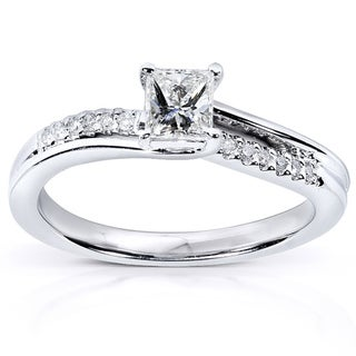 Annello 14k White Gold 1/2ct TDW Diamond Engagement Ring (H-I, I1-I2)