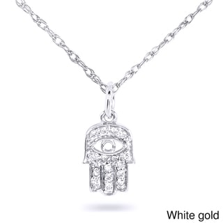 Annello 14k Gold 1/10ct TDW Diamond Accent Mini Hamsa Necklace