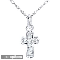 Annello 14k Gold Diamond Accent Mini Charm Size Cross Necklace