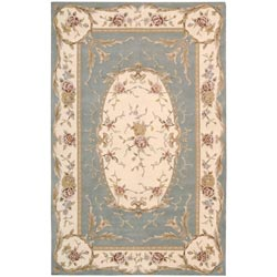 Nourison Hand-tufted French Empire Aqua Wool Rug (3'6 X 5'6)