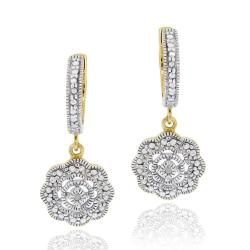 DB Designs 18k Gold over Sterling Diamond Accent Flower Dangle Earrings