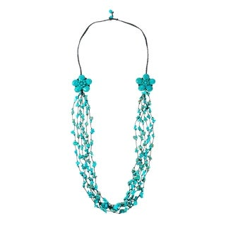 Cotton Long Reconstructed Turquoise Double Flower Necklace (Thailand)
