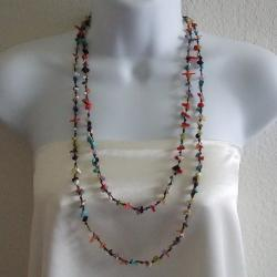 Cotton Rope Multi-gemstone Nugget Necklace (Thailand)