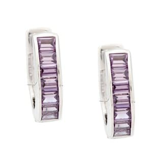 Kate Bissett Silvertone Purple Cubic Zirconia Ear Cuff Earrings