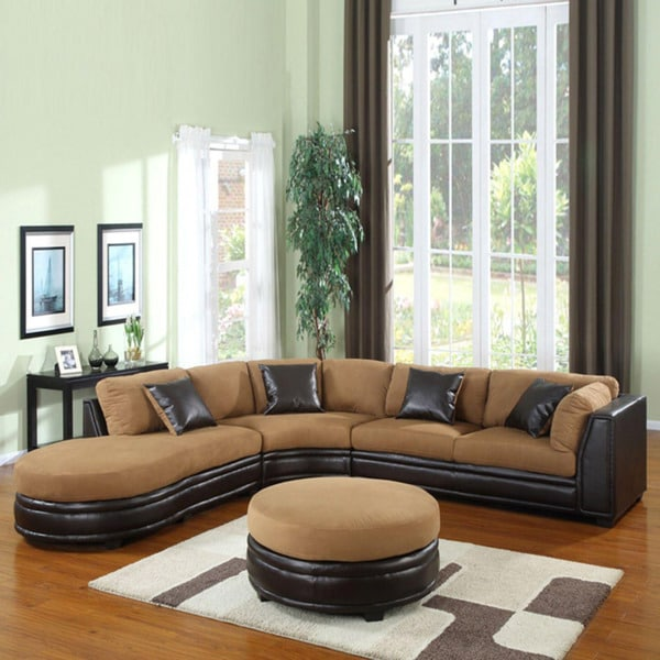 Three Piece Dark Brown Sectional