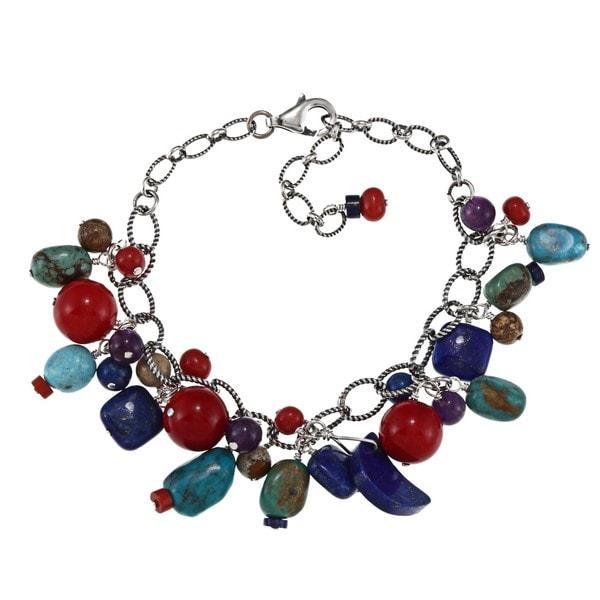 Southwest Moon Sterling Silver Multi-gemstone Dangle Chain Bracelet