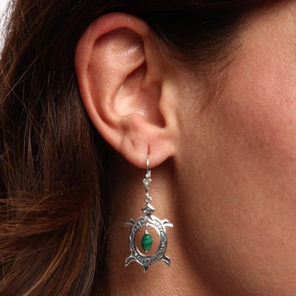 Southwest Moon Sterling Silver Malachite Turtle Leverback Earrings