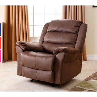 Abbyson Living Sydney Brown Microsuede Rocker Recliner
