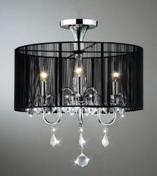 Black and Chrome Semi Flush Mount Crystal Chandelier