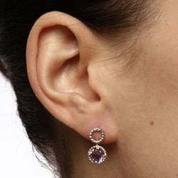 La Preciosa Sterling Silver Amethyst Circle Earrings