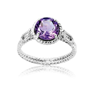 La Preciosa Sterling Silver Amethyst Braided Ring