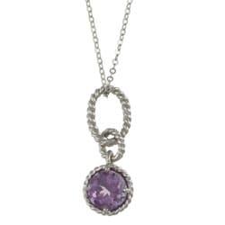 La Preciosa Sterling Silver Amethyst Circle Necklace