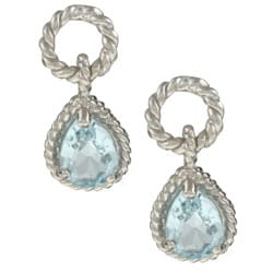 La Preciosa Sterling Silver Blue Topaz Teardrop Earrings
