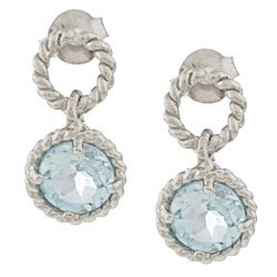 La Preciosa Sterling Silver Blue Topaz Braided Earrings