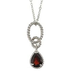 La Preciosa Sterling Silver Garnet Teardrop Necklace