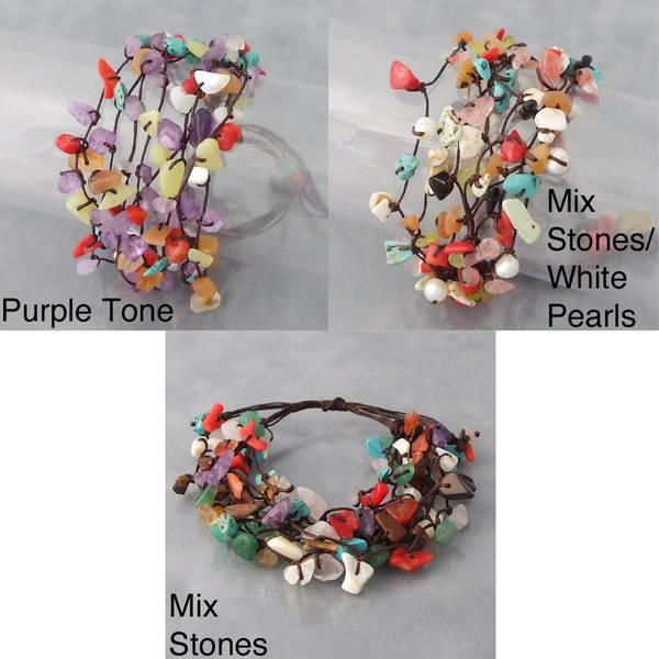 Handmade Cotton Rope Multi-gemstone Cluster Bracelet (Thailand) 9875370